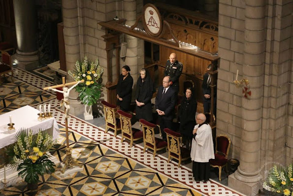 Princess Charlene, Princess Caroline, Prince Albert II and Princess Stephanie attends a mass to honor the 10 year anniversary of the death of Prince Rainier III at the Monaco Cathedral