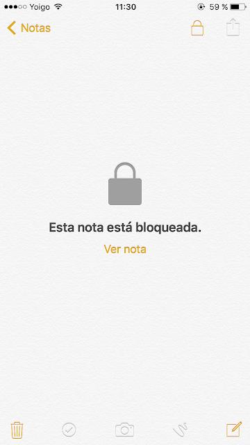 nota bloqueada en iphone