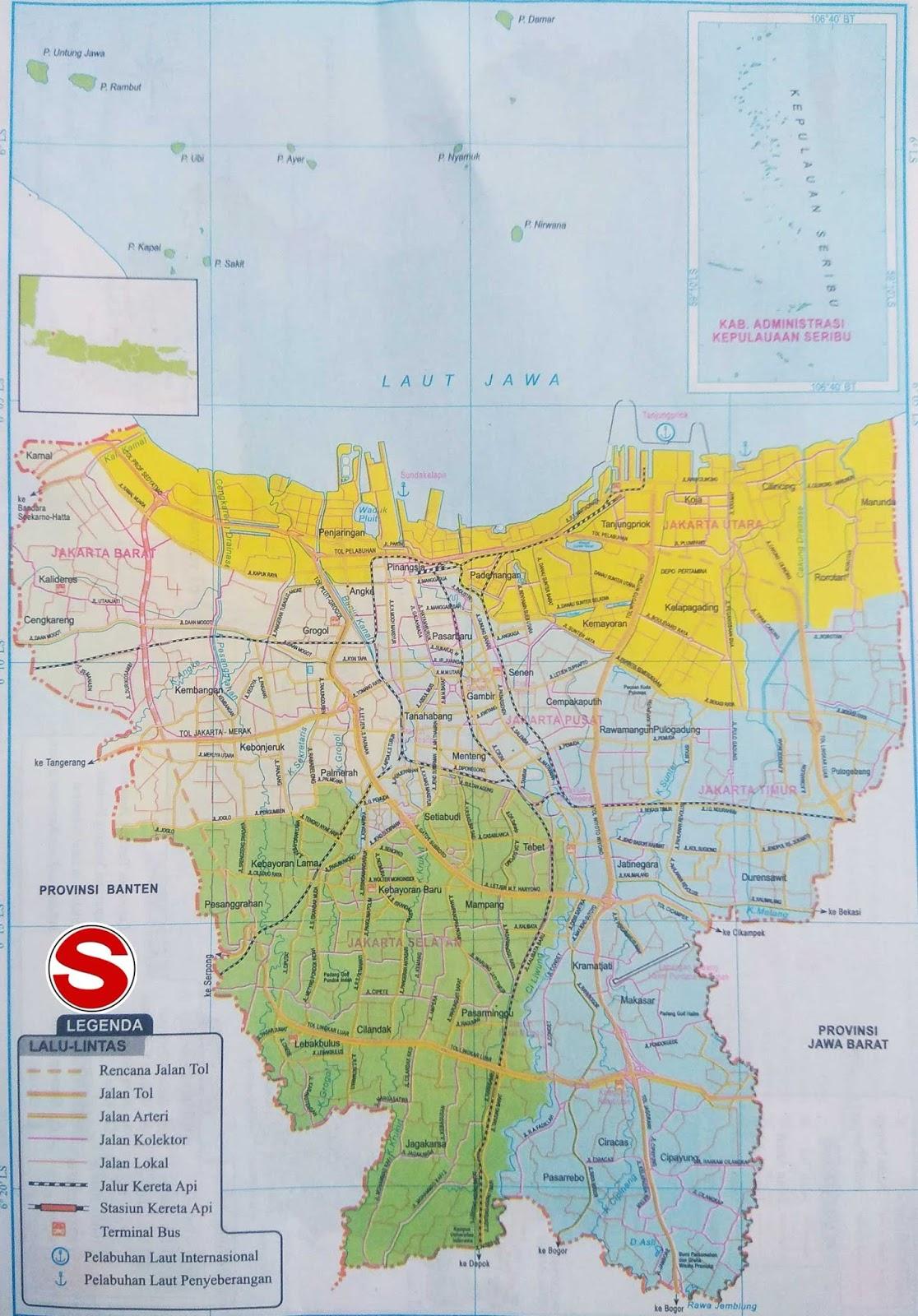 Peta dataran dan perairan sanggup anda lihat pada kotak LEGENDA berupa angka yang tertera Peta Atlas Jakarta (DKI JAYA)