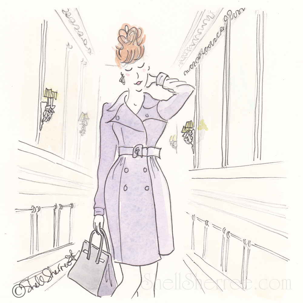 paris illustration, fashion illustration, shell sherree illustration, violet rendezvous