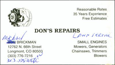 Don S Repair Business Card Redesign