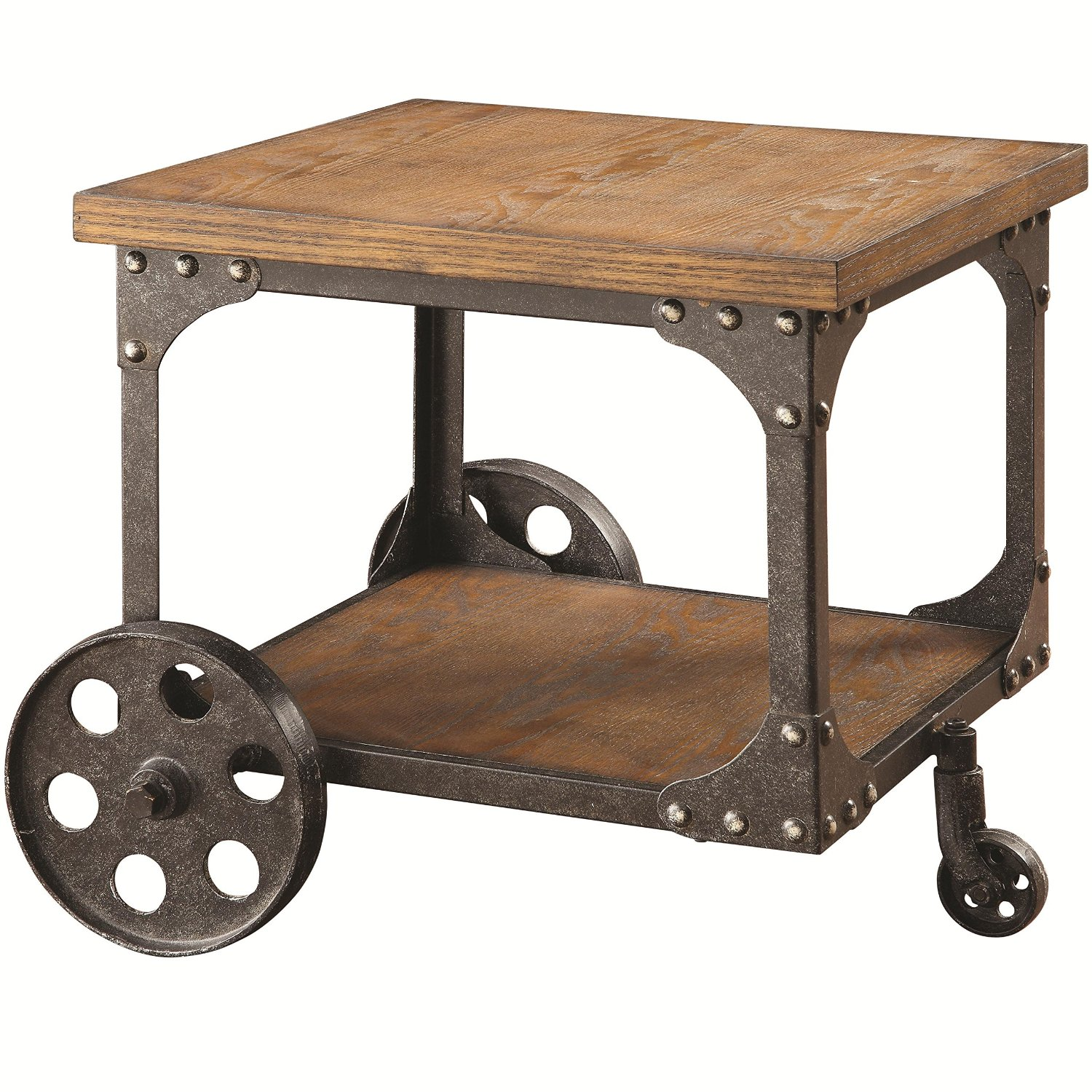 Total fab modern industrial warehouse railroad cart for Coffee tables on wheels