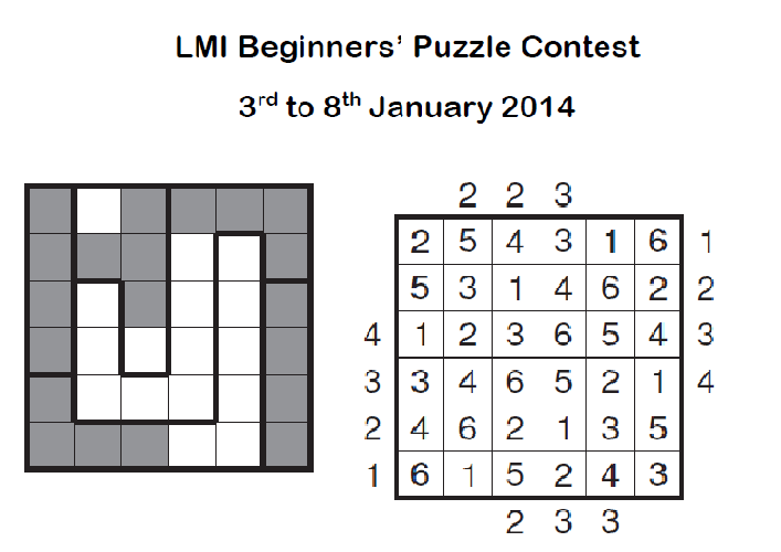 LMI Beginners Puzzle Contest January 2014 on 3-8 Jan 2014