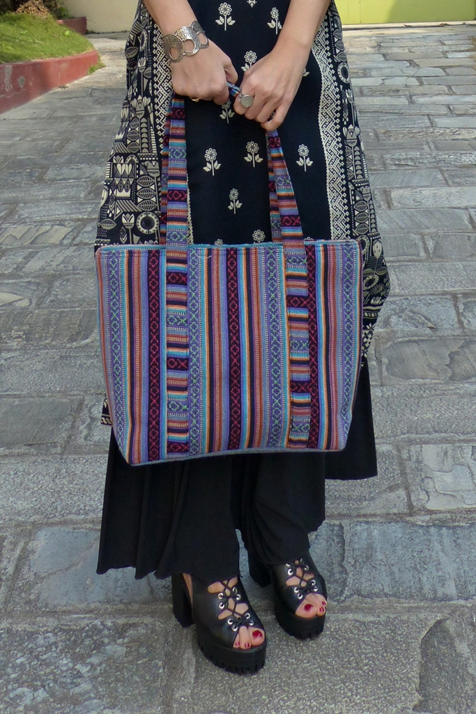 Tote bag made from traditional Nepalese dhaka fabric