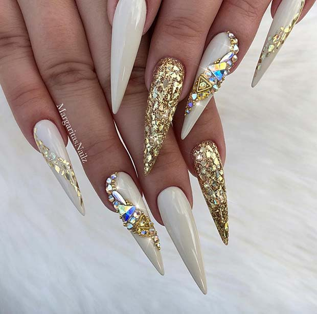 37 Unique Gold Nail Art Designs 2019 For Your Classy Summer