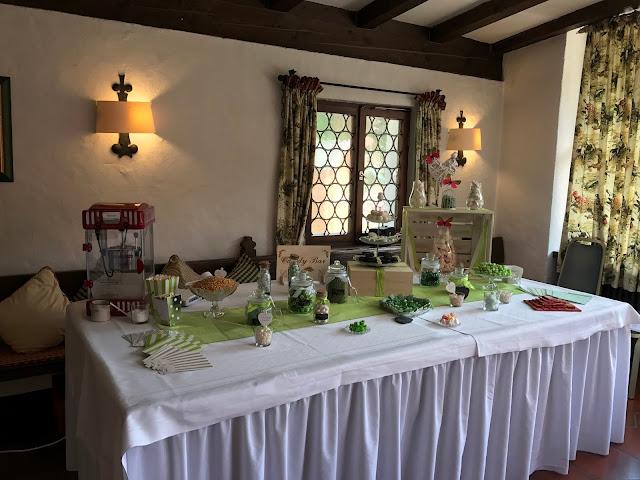 Candy Bar in Grün von Candy Sandy Thalmeier, Sommerhochzeit in den Bergen von Garmisch-Partenkirchen, Riessersee Hotel ihr Hochzeitshotel in Bayern, Apfelgrün und Weiß, Hochzeitsplanerin Uschi Glas