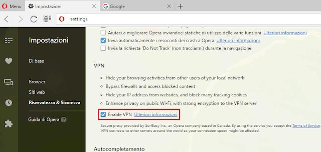 Attivare VPN Opera browser