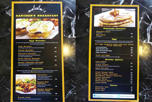 Malcolm's Deli breakfast menu