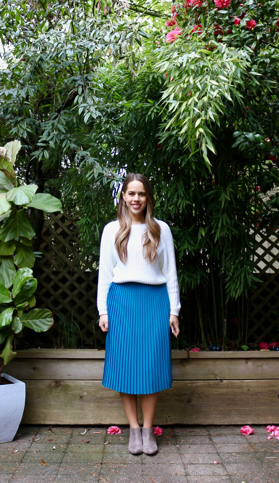 Jules in Flats - Pleated Midi Skirt with Knit Sweater (Business Casual Spring Workwear on a Budget)