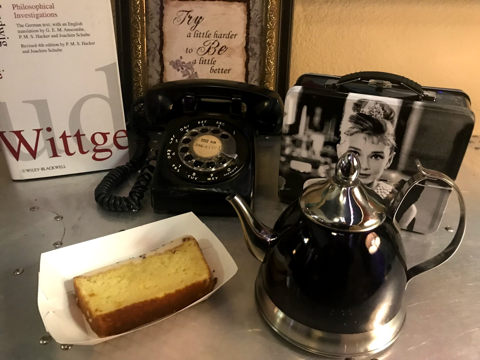 Image: Retro 521 Coffee Cafe And Venue: I ordered the Lemon Lavender Cake Slice with Lavender Hot Tea; that they serve in a little tea kettle. My husband and I decided to sit in one of their private vintage style rooms.  I am so glad this was on my list of things to do when I hit the city,