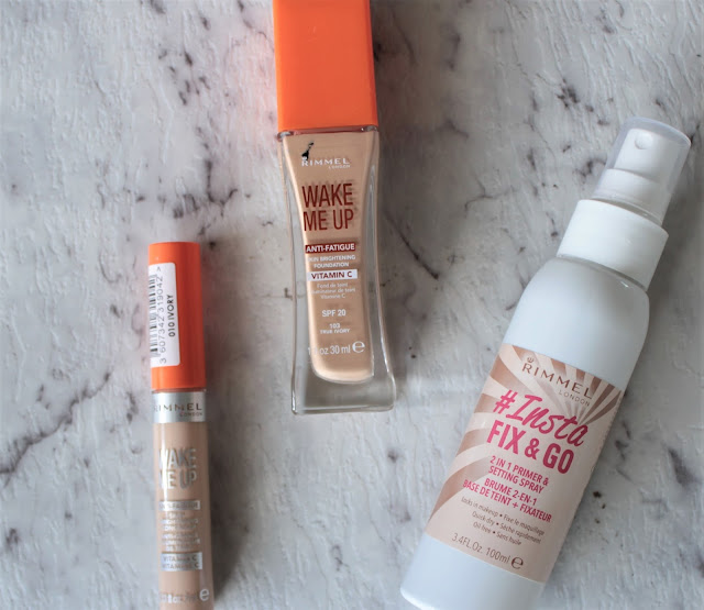 Rimmel Wake Me Up Anti-Fatigue Foundation, Concealer & Insta Fix & Go Setting Spray
