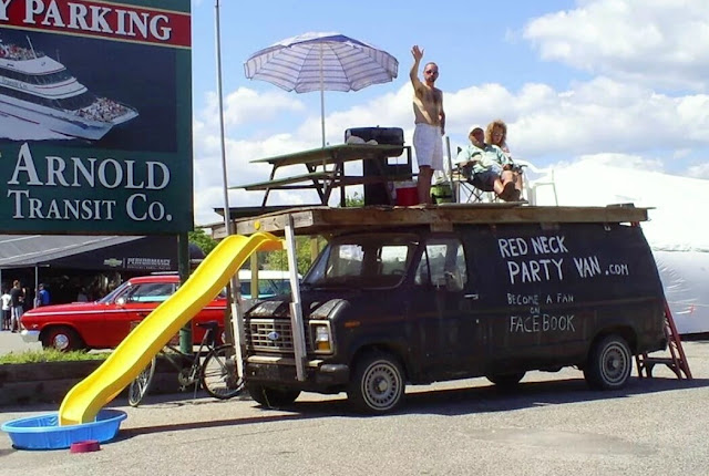The Red Neck Party Van complete with slide and pool