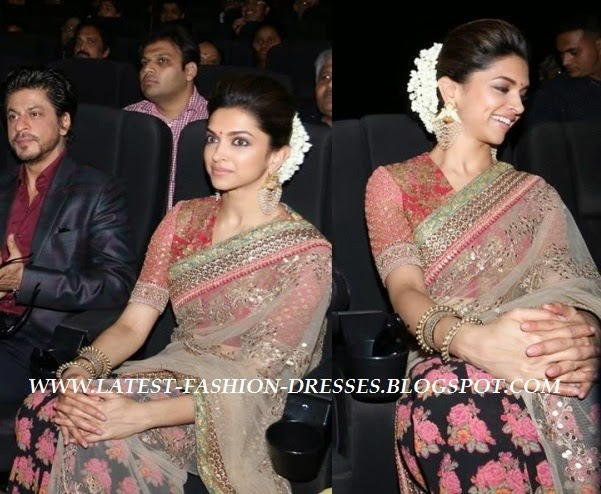 half and half net saree with deepika padukon