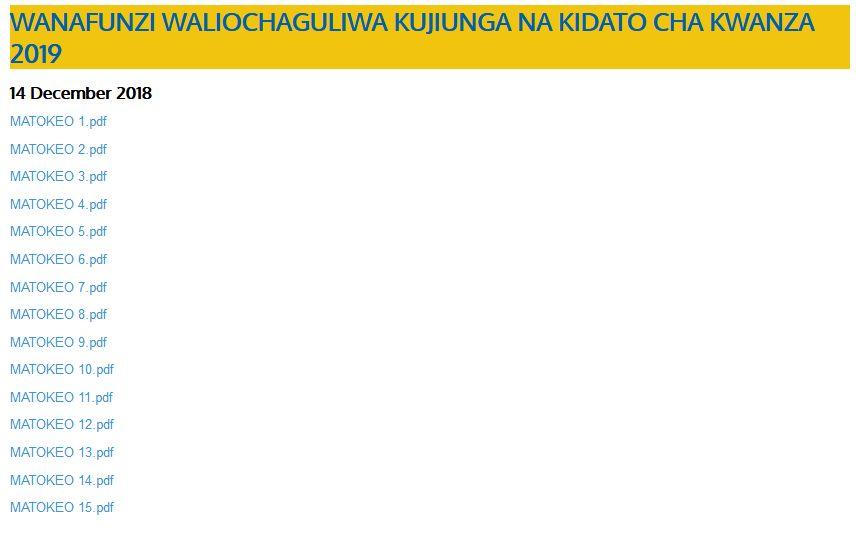 Tazama Hapa Majina ya Wanafunzi waliochaguliwa kujiunga kidato cha kwanza 2019.... Pwani, Mbeya, Lindi, Mtwara Wameshaweka