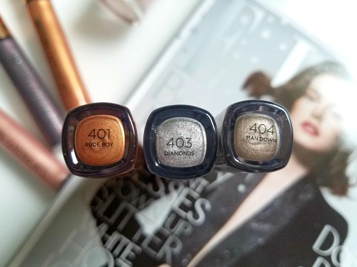 Review: L´Oréal Paris Merry Metals - Eye Paints 401 Rude Boy - 403 Diamonds - 404 Man Down - Madame Keke