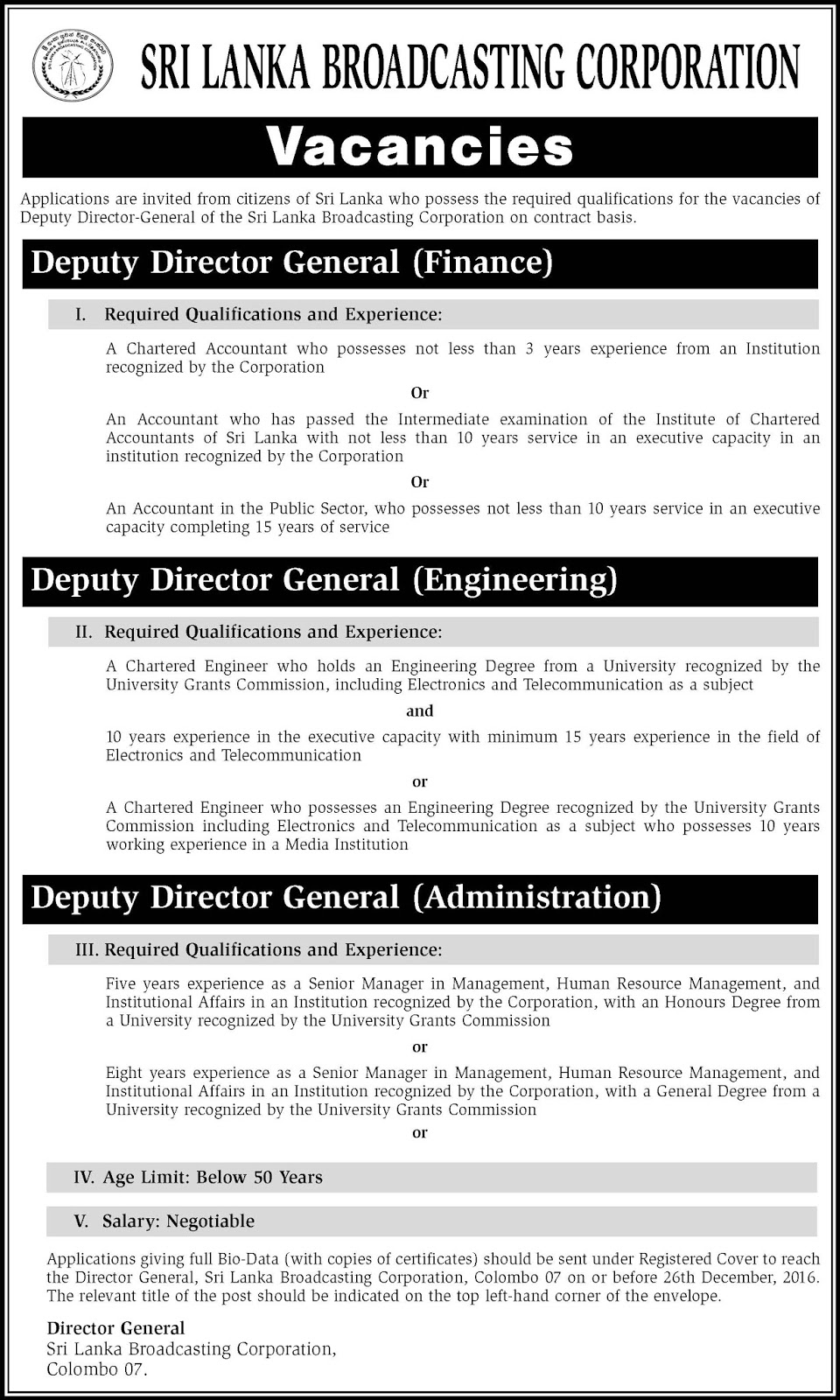 Sri Lankan Government Job Vacancies at SLBC - Sri Lanka Broadcasting Corporation for Deputy Director Generals.