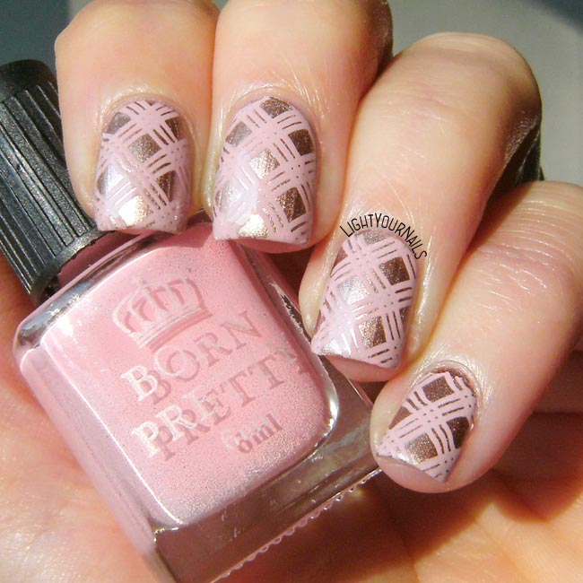 Pink plaid stamping nail art
