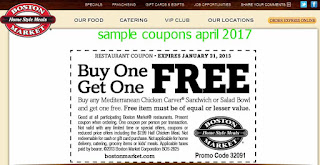 free Boston Market coupons april 2017