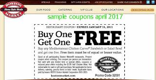 free Boston Market coupons april 2017