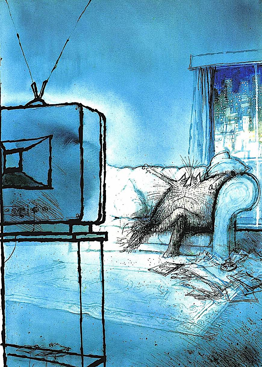 a Ronald Searle cat cartoon, cat watching television