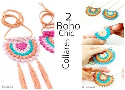 Colgante media luna collar Boho-Chic a crochet