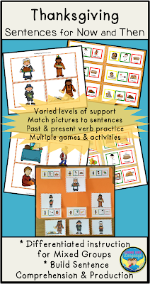 Use past and present tenses to tell about Thanksgiving in a multi activity set from Looks Like Language!