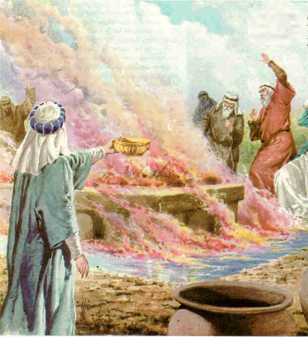 The fire burned up the sacrifice, the wood, the stones and the soil, and also licked up the water in the trench. Later Elijah slaughtered hundreds (450) of Jezebel's prophets. (1 Kings 18:32-40)