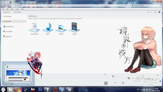 Windows 7 Theme Kyoukai no Kanata by Bashkara