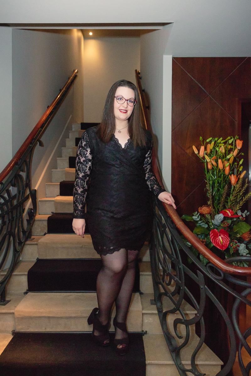 black lace wrap dress