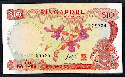 Singapore money banknotes Orchid Series currency notes 10 Dollars banknote