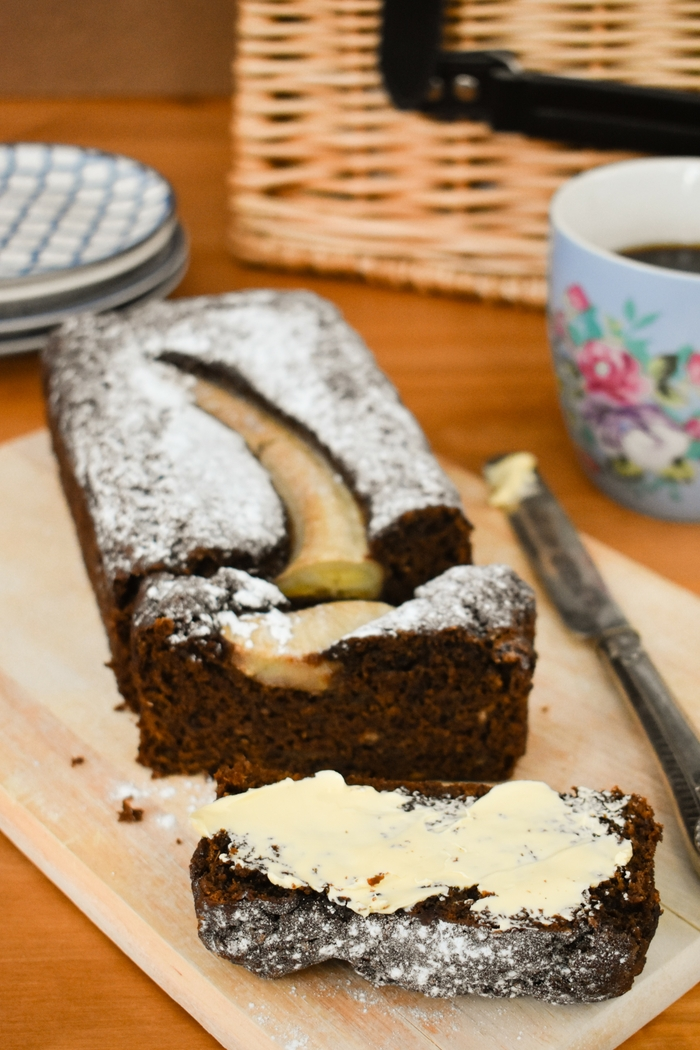 Sliced Dark Treacle Banana Gingerbread