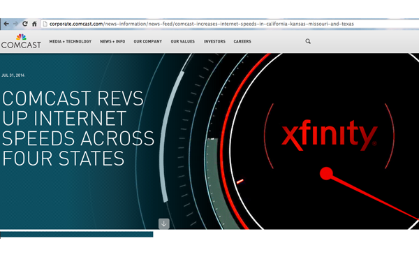 Comcast Boosts Internet Speeds in California, Texas, Kansas, MO