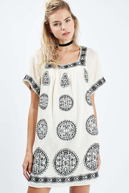 black white smock dress, white black embroidered dress,