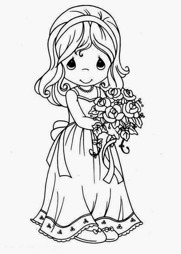 Beautiful Princess Doll Coloring Page for Kids of a Cute