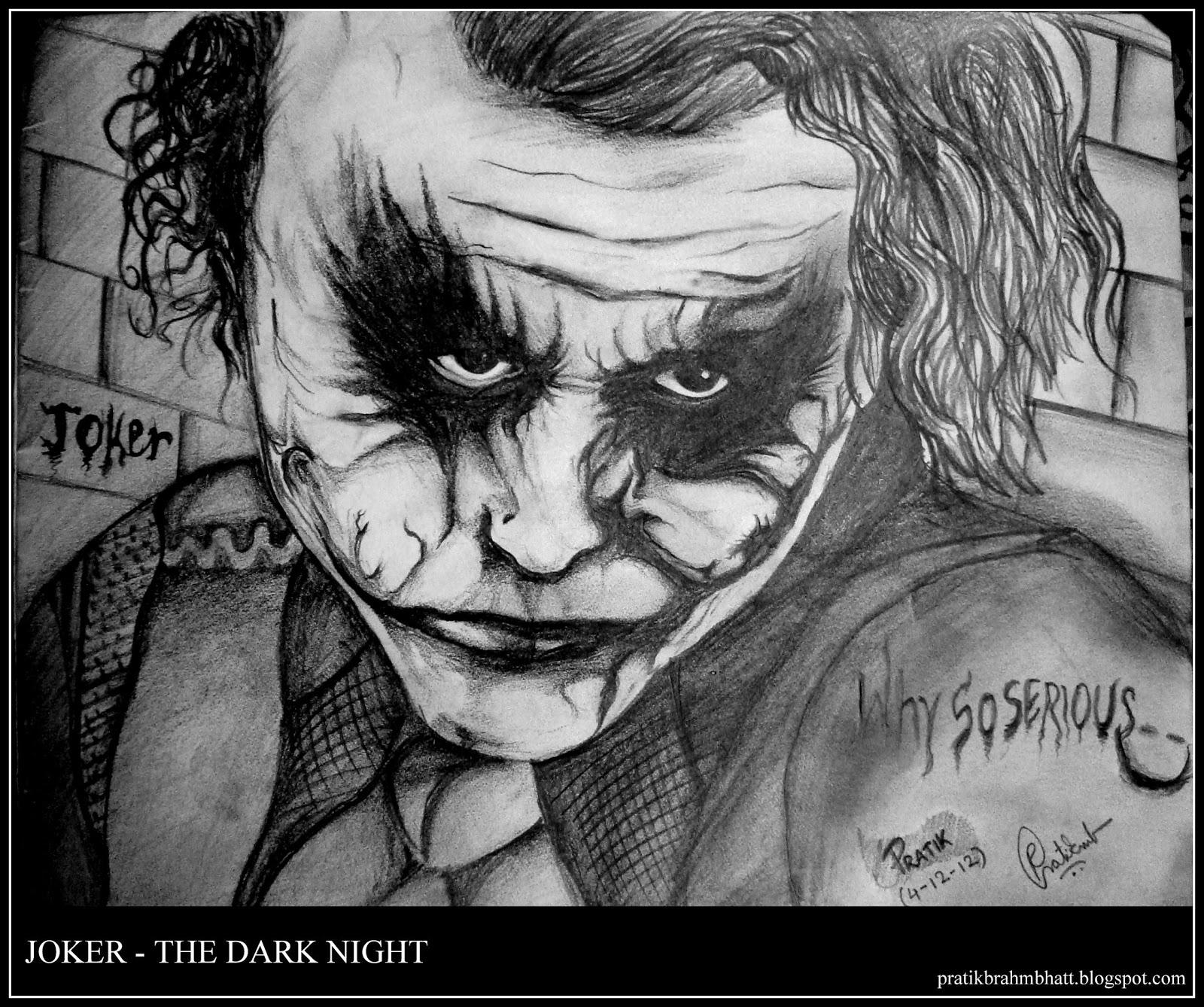 Pratik Brahmbhatt Joker Pencil Sketch The Dark Night Heath