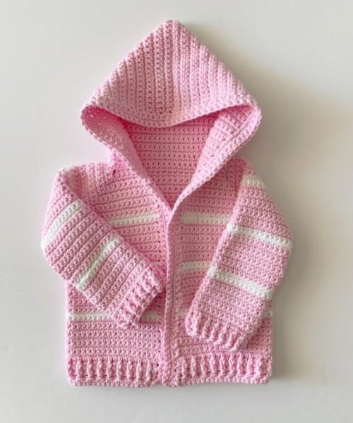 Pink Single Crochet Baby Sweater - Free Pattern