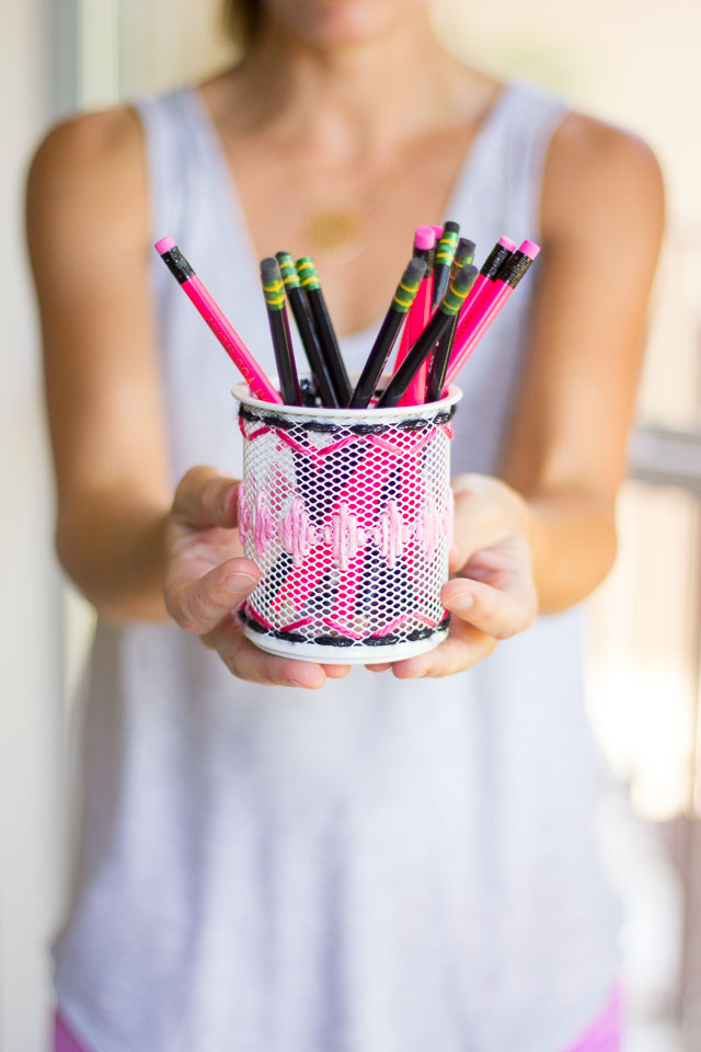Yarn Embroidered Desk Accessories with The Container Store ...