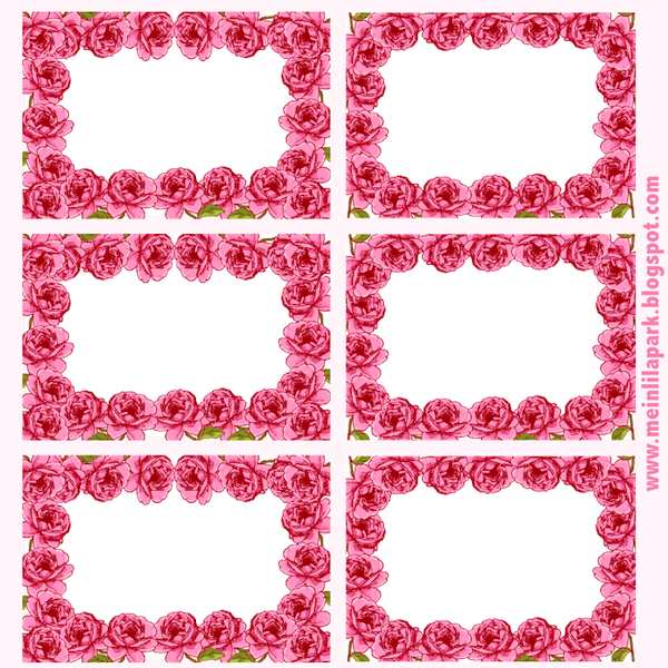 Free printable rose framed tags ausdruckbare etiketten for Flower tags template free
