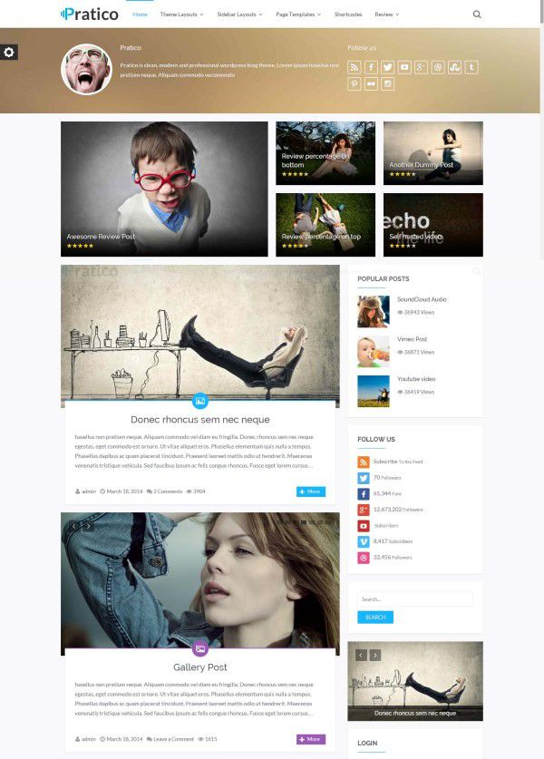 Practico wordpress blog theme