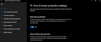 aktifkan real time protection windows defender windows 10