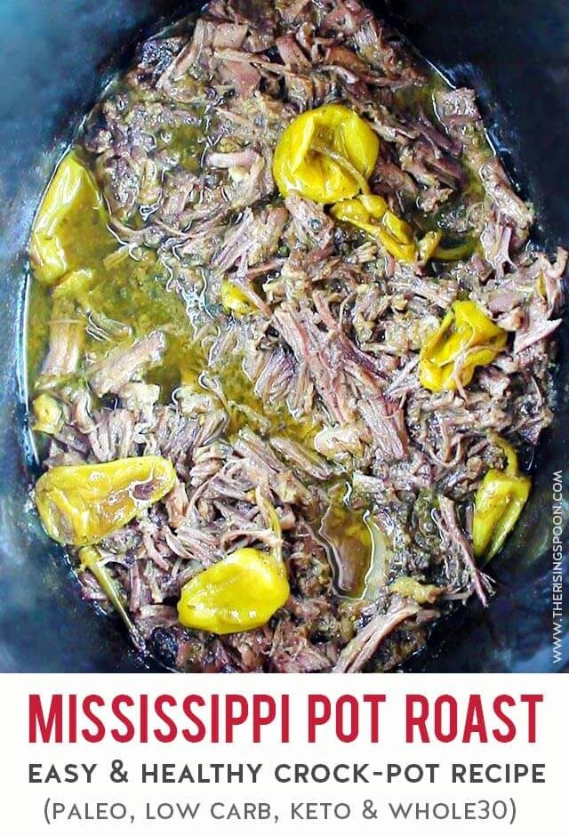 A healthy version of the insanely delicious Mississippi pot roast recipe made in the crock-pot. This is just as good as the original (melt in your mouth) but uses ingredients that make it paleo, low-carb, keto & whole30 friendly! Fix it on high in the slow cooker & serve with your fav mashed potatoes or cauliflower + roasted veggies for a healthy & comforting meal. (gluten-free, grain-free & dairy-free)