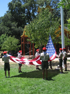 Boy Scouts Color Guard raising the flag, Oak Meadow Park, Los Gatos, California