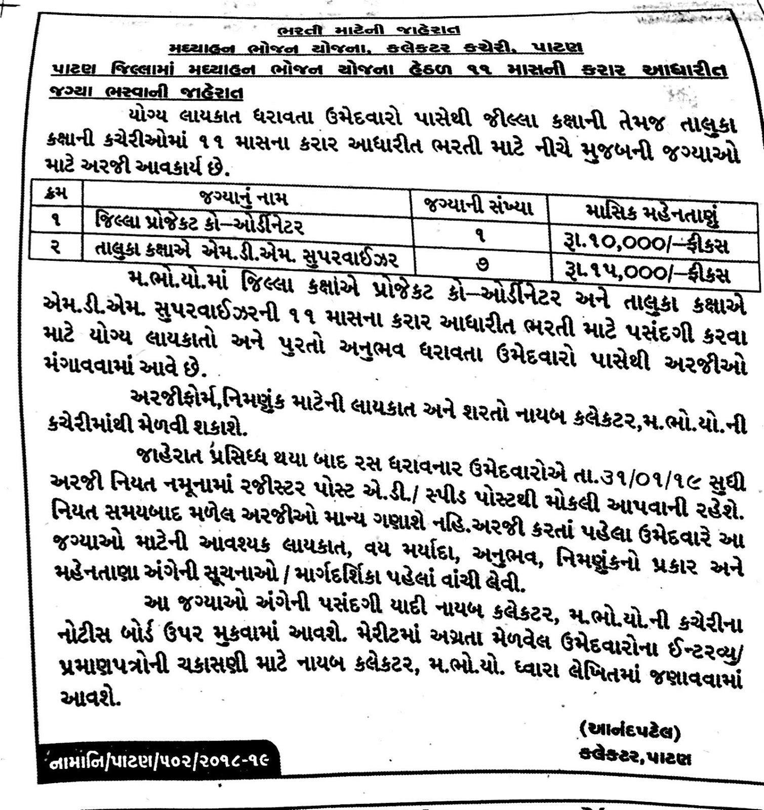 Midday Meal Scheme (MDM),Patan Recruitment for Various
