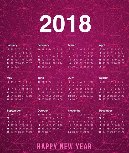 New Year Calendar 2018