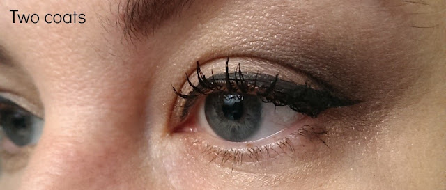 Two coats of rimmel retro glam mascara