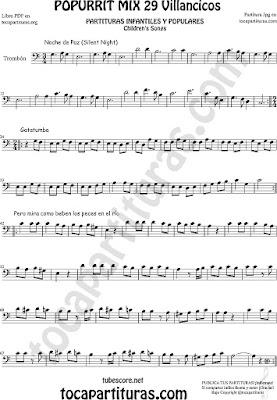 Partitura de Trombón y Bombardino en Clave de Fa Popurrí Mix Villancicos Noche de Paz, Gatatumba y Pero Mira como Beben los Peces en el Río Sheet Music for Trombone & Eyphonium