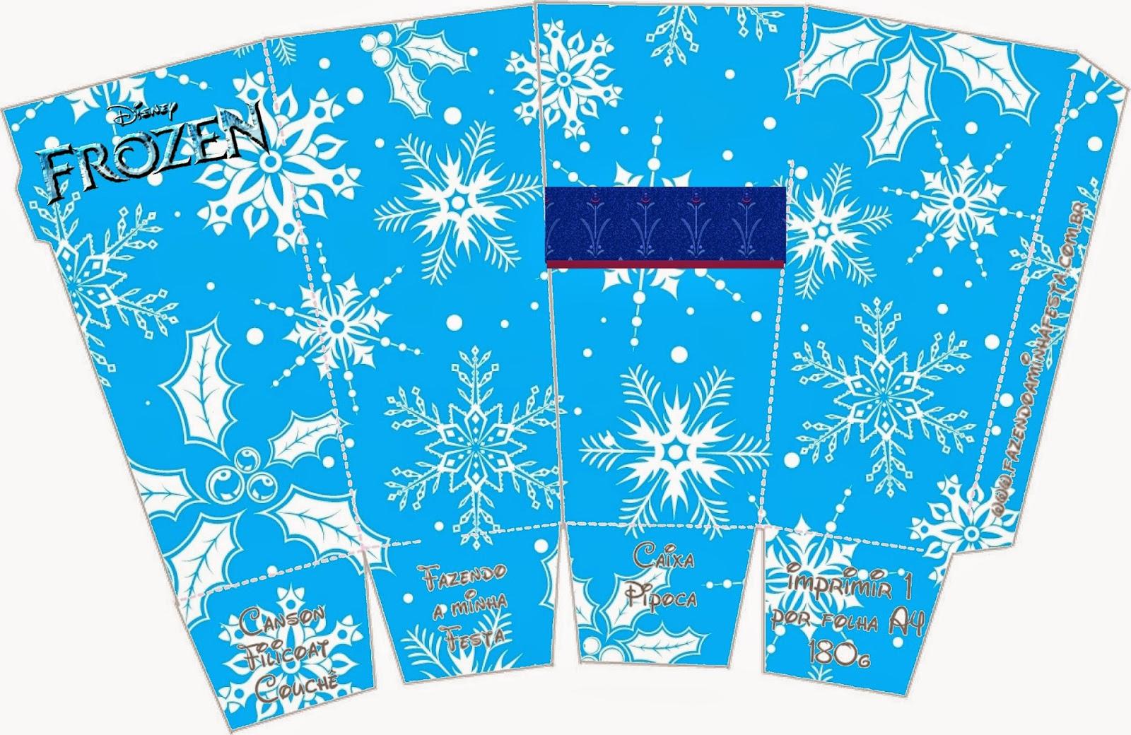 Frozen: Caja para Popcorn, para Imprimir Gratis.