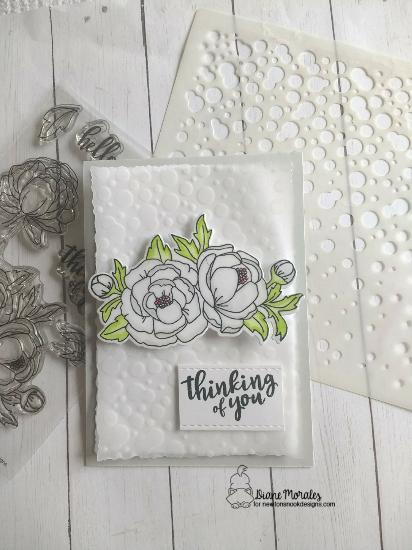 Thinking of you by Diane features Peony Blooms and Bubbly by Newton's Nook Designs; #newtonsnook