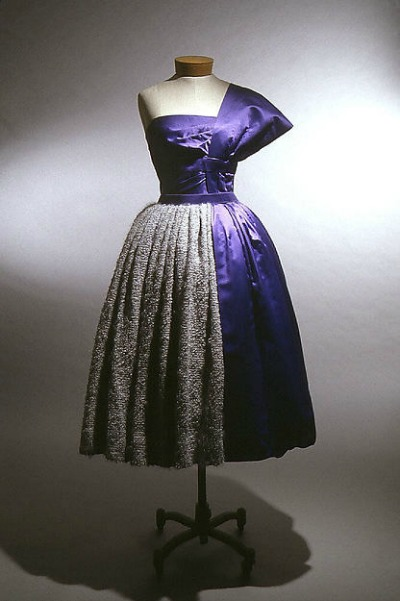 Blue and Silver Dinner Dress by Gilbert Adrian displayed on dress form