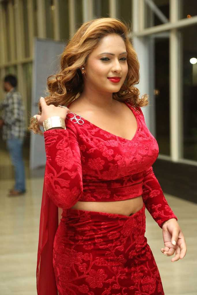 Hindi Actress Nikesha Patel Hot Sizzling Images In Red Dress At Audio Launch